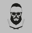 hipster skull with glasses mustache and beard vector image vector image