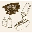 Hot Dog Hand Drawn vector image vector image