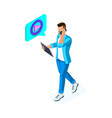 isometric young man watches video and communicates vector image vector image