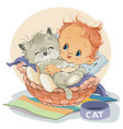 ittle boy sits in a basket and hugs his kitten vector image vector image