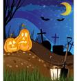 Jack o lanterns on a cemetery vector image vector image