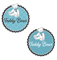 label teddy bear with bow vector image