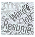 Magic words in your Resume Word Cloud Concept vector image vector image