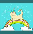 magical cat on rainbow and two white clouds vector image