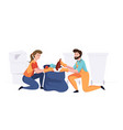 man with woman from cleaning company staff vector image vector image