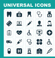 medicine icons set collection of hospital vector image vector image