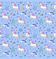 pattern with unicorns and other elements vector image vector image
