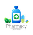 pharmacy symbol blue bottle with cross vector image vector image