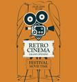 retro cinema festival poster with old movie camera vector image