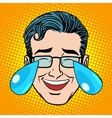 Retro Emoji tears joy man face vector image vector image
