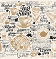 seamless background on tea theme vector image vector image