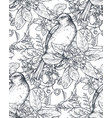 seamless pattern with ink hand drawn birds vector image vector image