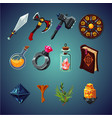 set magic items for computer fantasy game vector image vector image