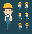 Set of engineer characters poses vector image vector image