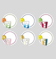 set of six coasters - cocktail bar concept vector image