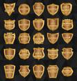 Set of vintage design elements-golden shields vector image vector image