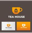 tea house logo cup tag house icon vector image