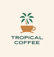tropical coffee palm tree logo icon vector image vector image