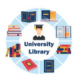 university library flat poster vector image