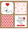 valentines cards set with dog vector image vector image