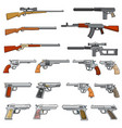 various rifle guns and pistols cartoon vector image vector image