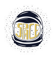 vintage hand drawn astronaut helmet to space vector image