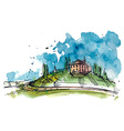 Watercolor of a Tuscany hill vector image vector image