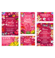 wedding invitations with hearts rings and cupids vector image vector image