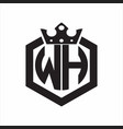 wh logo monogram rounded hexagon shape vector image vector image