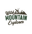 wild mountain explorer badge with snowboarder vector image vector image