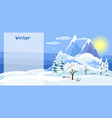winter banner with trees mountains and hills vector image vector image