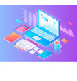 workspace with tablet and useful stuff on desktop vector image vector image