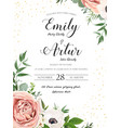 wedding floral invite card design with rose flower vector image