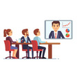 video meeting in office boardroom with ceo and vector image