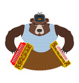 Russian patriot bear with accordion Wild animal vector image