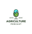 agriculture podcast logo icon vector image vector image