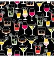 Alcohol drinks and cocktails seamless pattern in vector image vector image