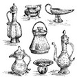 ancient cooper vases jug set greek or arabic vector image vector image