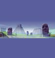 ancient moai statues and mayan pyramids in fog vector image vector image