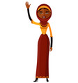 arab muslin cheerful young girl waving her hand vector image
