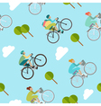 Background with girls and boys is riding bike vector image vector image