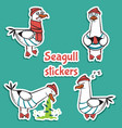 bird seagull stickers set isolated on blue vector image vector image