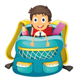 boy in bag vector image vector image