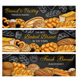 bread pastry food sketches on chalkboard banners vector image vector image