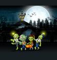 cartoon of zombie group on the halloween with haun vector image