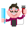 cartoon successful hairdresser in an apron with a vector image vector image