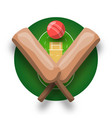 cricket logo with cross bat ball and field modern vector image