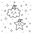 cute cloud and star in sky coloring page good vector image vector image
