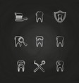 dental icons set - teeth line icons on chalkboard vector image vector image