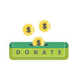 donate green button with coins vector image